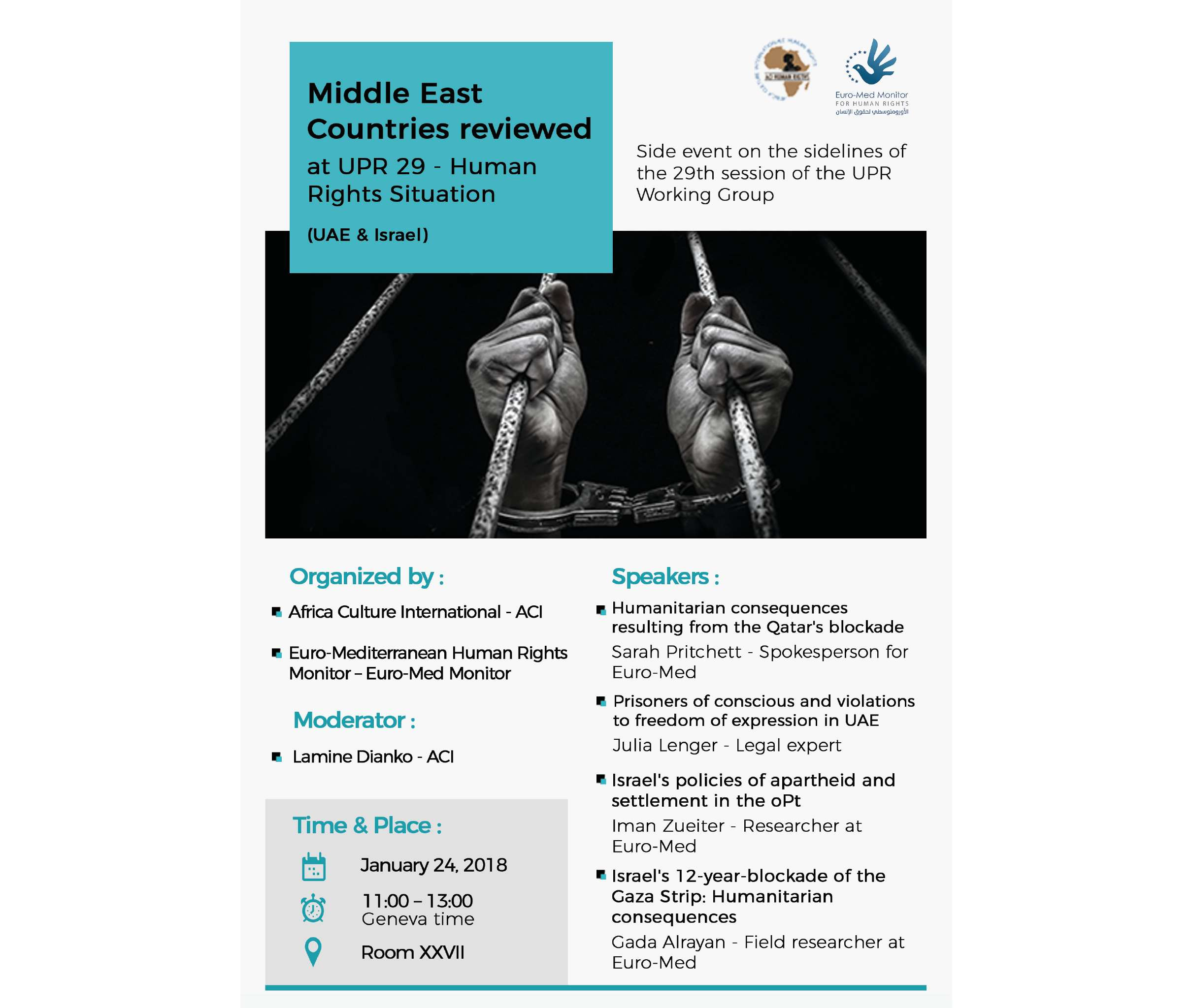 On the sidelines of the UPR, Euro-Med Monitor and ACI hold side event on human rights situation in oPt and UAE