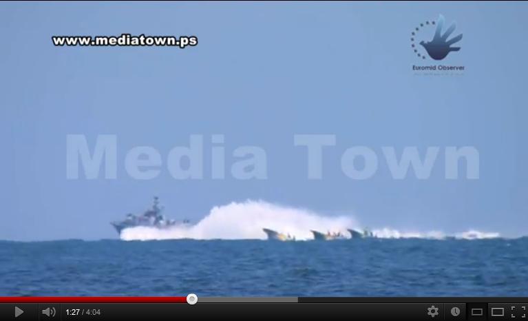 توزيع تسجيلاً يظهر سفناً إسرائيلية تغرق زوارق صيادي غزة