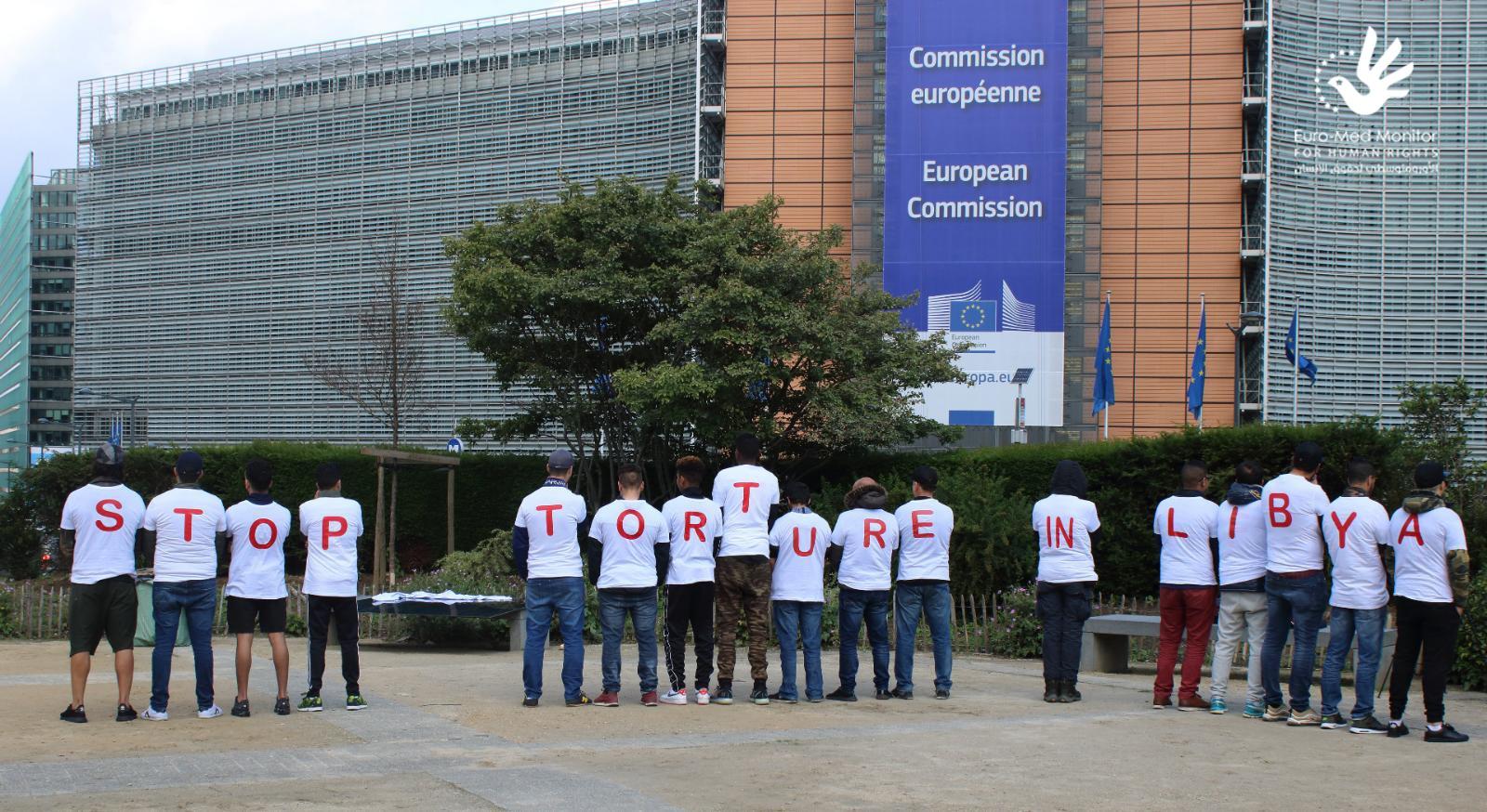 فعالية للأورومتوسطي أمام المفوضية الأوروبية لمناهضة التعذيب في ليبيا