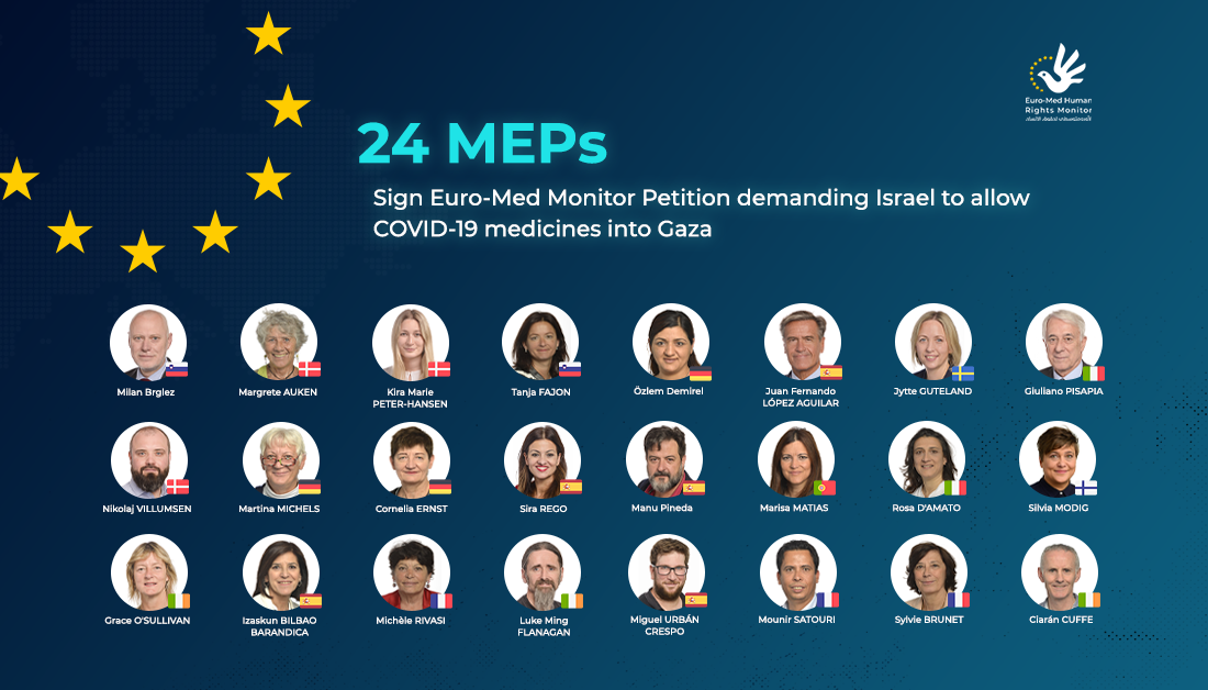 Euro-Med Monitor: MEPs call for ending Gaza's siege, allowing COVID-19 medications in