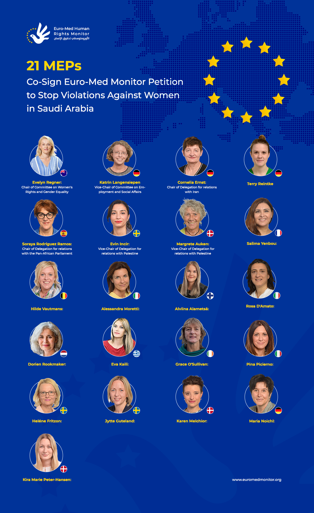 21 Women MEPs Co-Sign Euro-Med Monitor Petition to Stop Violations Against Women in Saudi Arabia