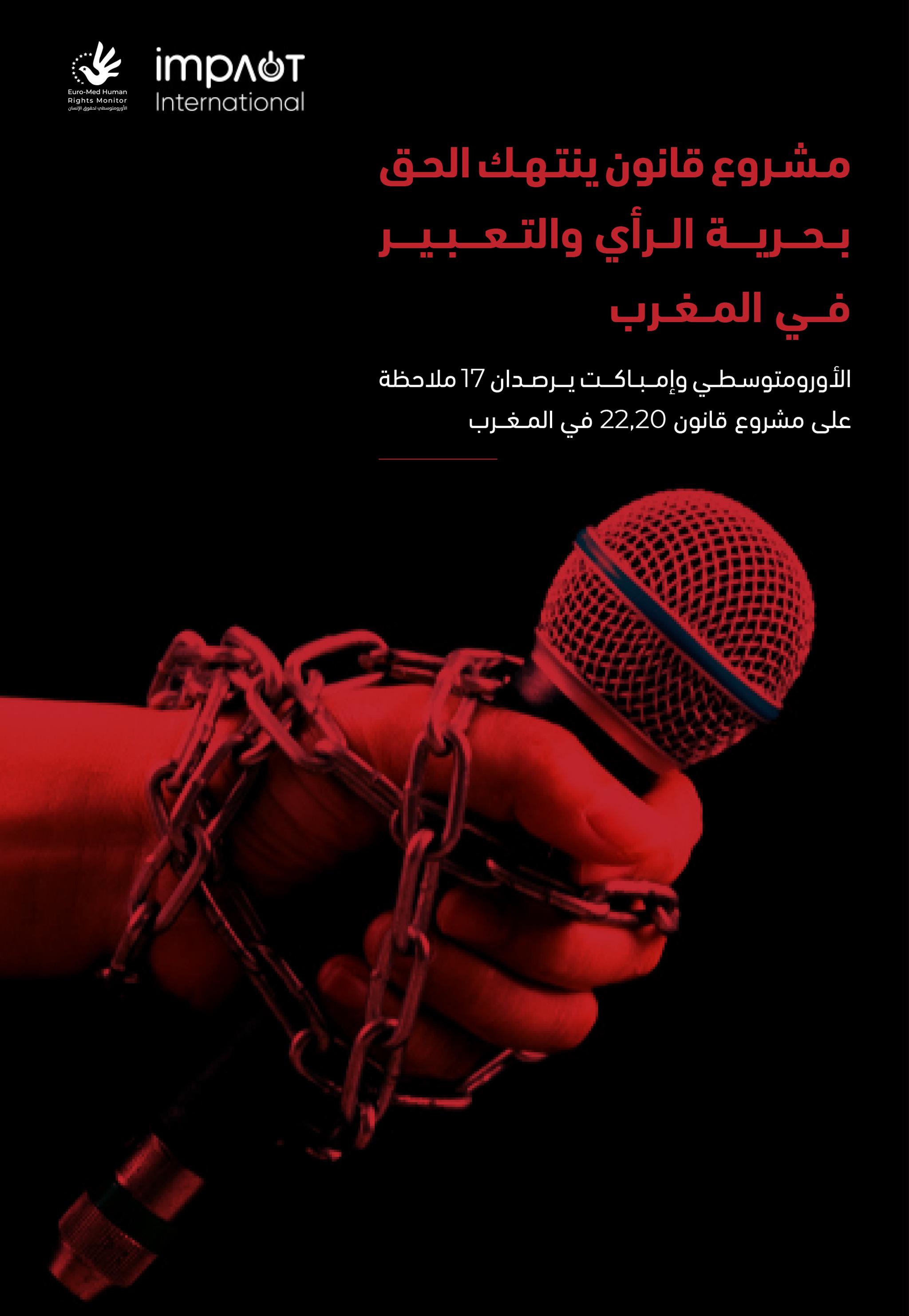 الأورومتوسطي وإمباكت في تقرير مشترك: مشروع قانون مغربي يمهد لعصرٍ من تكميم الأفواه