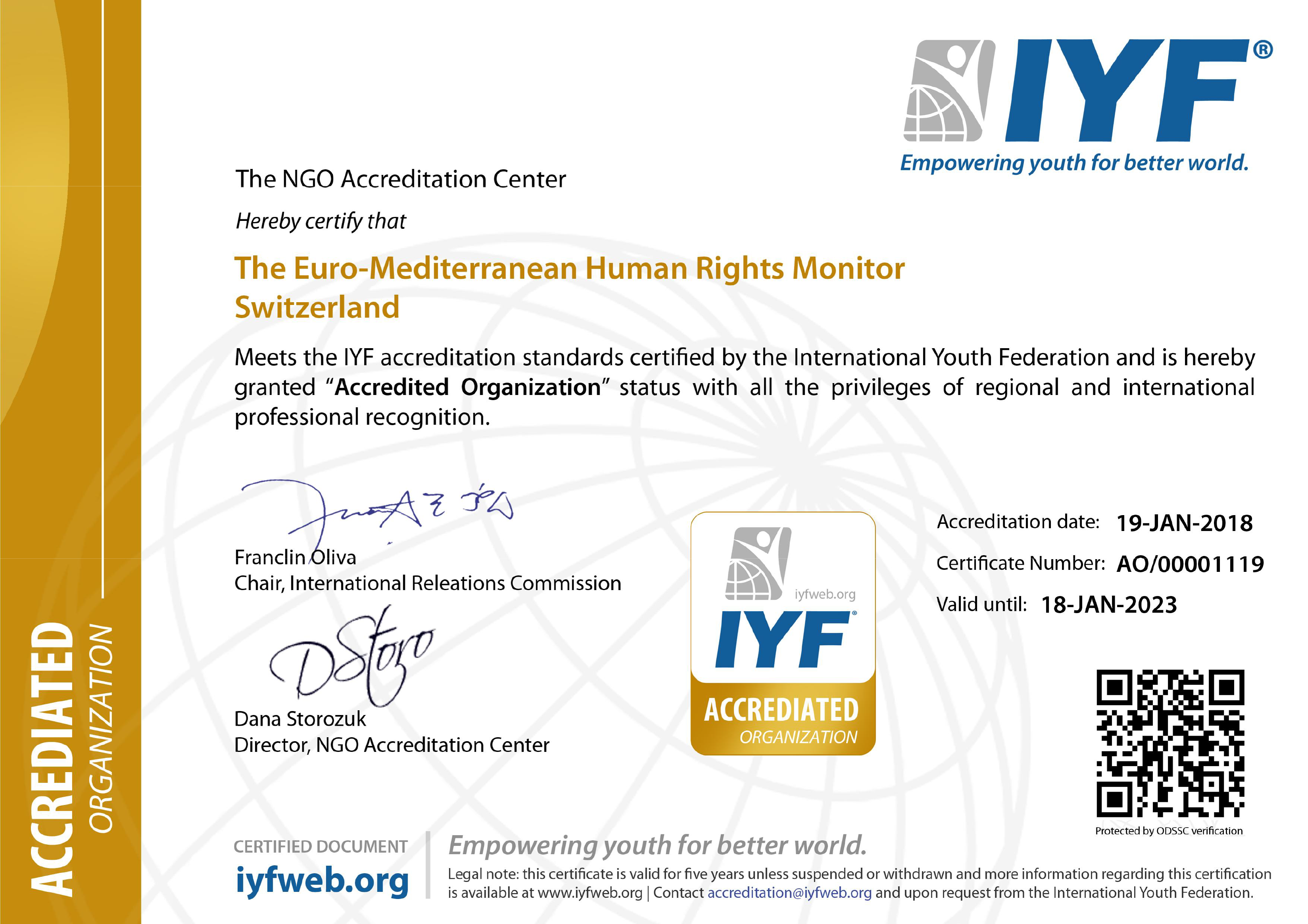 Euro-Med receives accreditation from International Youth Federation